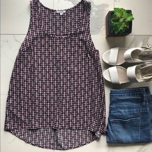 Pleione Pink and Black Patterned Sleeveless Blouse